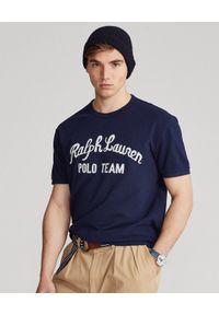 Niebieski t-shirt Ralph Lauren z napisami, polo