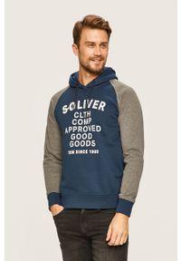 Niebieska bluza nierozpinana s.Oliver z kapturem, z nadrukiem