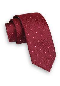 Ciemny Czerwony Krawat -Angelo di Monti- 6 cm, Męski, w Kwadraciki, Geometryczny Wzór. Kolor: czerwony. Wzór: geometria. Styl: wizytowy, elegancki