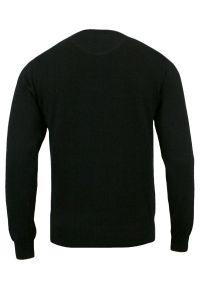 Sweter Czarny, Klasyczny U-neck Męski Bawełniany - Adriano Guinari. Okazja: do pracy, na spotkanie biznesowe. Kolor: czarny. Materiał: bawełna. Styl: klasyczny