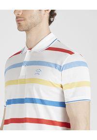 PAUL & SHARK - Koszulka polo w kolorowe pasy. Typ kołnierza: polo. Kolor: biały. Materiał: bawełna. Wzór: kolorowy. Styl: wakacyjny, elegancki