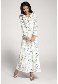 Biała sukienka wizytowa Nommo maxi, z falbankami