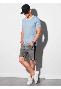 Ombre Clothing - T-shirt męski bawełniany S1385 - jasnoniebieski - XXL. Kolor: niebieski. Materiał: bawełna. Styl: klasyczny