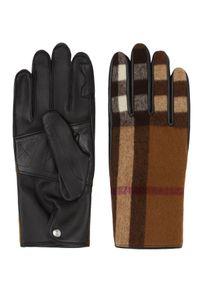 Burberry - BURBERRY - Rękawiczki w kratę. Kolor: brązowy. Materiał: kaszmir