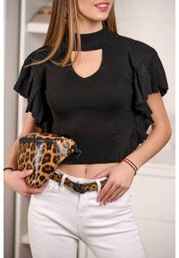 Czarna bluzka IVET z falbankami