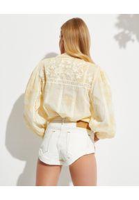 LOVE SHACK FANCY - Żółta rozpinana koszula Ronda. Kolor: żółty. Materiał: koronka, bawełna. Długość: długie. Wzór: kwiaty, haft