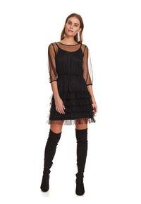 TOP SECRET - Tiulowa sukienka z falbaną i gumą w pasie. Okazja: na imprezę. Kolor: czarny. Materiał: tiul, guma. Wzór: aplikacja. Sezon: zima #7