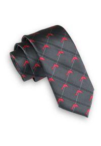Szary Krawat w Czerwone Delfiny -Angelo di Monti- 6 cm, Męski, Motyw Zwierzęcy. Kolor: czerwony. Wzór: motyw zwierzęcy. Styl: wizytowy, elegancki