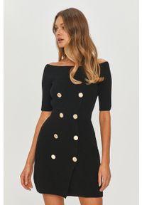 Czarna sukienka Elisabetta Franchi dopasowana, gładkie, na co dzień, z dekoltem typu hiszpanka
