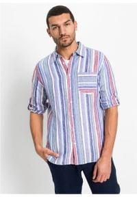 Koszula lniana z długimi wywijanymi rękawami bonprix lila-czerwono-biały w pionowe paski. Kolor: fioletowy. Materiał: len. Długość: długie. Wzór: paski