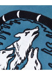 BUSCEMI - Niebieska bluza z haftem. Okazja: na spacer. Kolor: niebieski. Materiał: prążkowany, bawełna. Długość rękawa: długi rękaw. Długość: długie. Wzór: haft