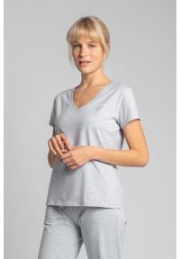 MOE - Bawełniana Koszulka do Spania z Krótkim Rękawem -Jasnoszary. Kolor: szary. Materiał: bawełna. Długość: krótkie