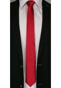 Czerwony Elegancki Krawat -Angelo di Monti- 6 cm, Męski, Jednokolorowy, w Tłoczone Kwiatki. Kolor: czerwony. Wzór: kwiaty. Styl: elegancki