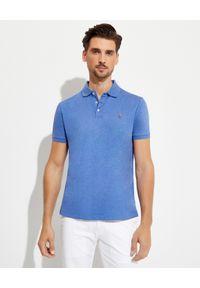 Ralph Lauren - RALPH LAUREN - Niebieska koszulka polo Custom Slim Fit. Typ kołnierza: polo. Kolor: niebieski. Materiał: bawełna, prążkowany. Wzór: haft, kolorowy