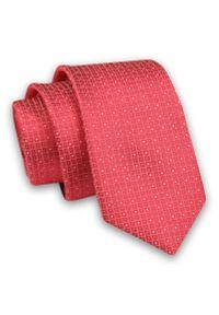 Czerwono-Beżowy Elegancki Męski Krawat -Angelo di Monti- 6 cm, w Kropki, Groszki. Kolor: beżowy, czerwony, brązowy, wielokolorowy. Materiał: tkanina. Wzór: grochy. Styl: elegancki
