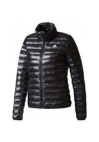 Czarna kurtka Adidas na zimę, w kolorowe wzory, z długim rękawem, z dekoltem woda
