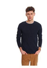 Niebieski sweter TOP SECRET klasyczny, z kontrastowym kołnierzykiem, na co dzień, długi