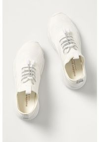 Białe sneakersy Steve Madden na sznurówki, z cholewką, na obcasie