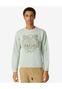 Kenzo - KENZO - Miętowa bluza Tiger. Kolor: zielony. Materiał: bawełna. Długość rękawa: długi rękaw. Długość: długie. Wzór: aplikacja. Styl: klasyczny