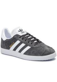 Szare półbuty Adidas w paski, z cholewką
