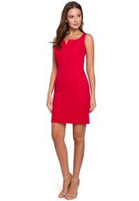 Czerwona sukienka wizytowa MAKEOVER mini, na ramiączkach
