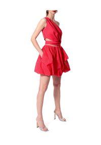 AGGI - Koralowa sukienka bombka Ariana. Okazja: na imprezę. Kolor: czerwony. Materiał: tkanina, bawełna. Wzór: ażurowy. Sezon: lato. Typ sukienki: bombki. Długość: mini