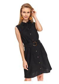 Czarna sukienka TOP SECRET midi, z okrągłym kołnierzem