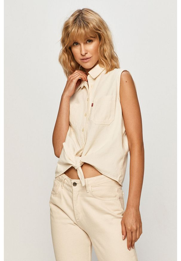 Kremowa koszula Levi's® w kolorowe wzory, klasyczna, na co dzień, bez rękawów