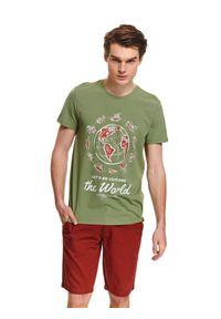 Brązowy t-shirt TOP SECRET na co dzień, z nadrukiem, na wiosnę, z krótkim rękawem