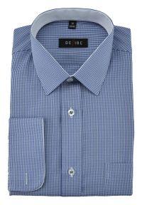 Niebieska elegancka koszula Desire w kratkę, z długim rękawem, długa, na co dzień