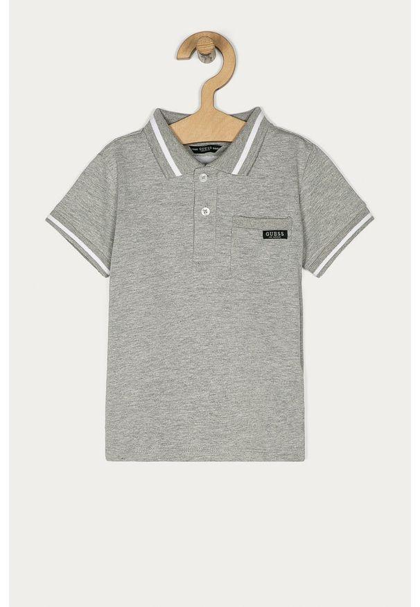 Szary t-shirt polo Guess Jeans na co dzień, z aplikacjami