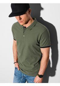 Ombre Clothing - Koszulka męska polo bawełniana S1382 - oliwkowa - XXL. Typ kołnierza: polo. Kolor: oliwkowy. Materiał: bawełna. Wzór: nadruk. Styl: klasyczny
