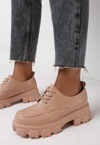 Born2be - Różowe Półbuty Melliope. Wysokość cholewki: przed kostkę. Zapięcie: sznurówki. Kolor: różowy. Materiał: jeans. Szerokość cholewki: normalna. Wzór: jednolity. Obcas: na obcasie. Wysokość obcasa: średni