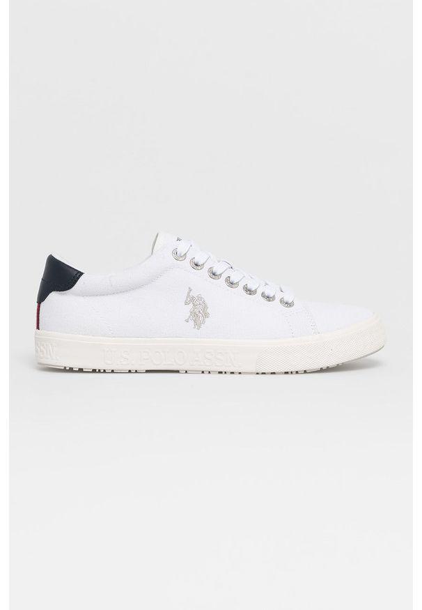 U.S. Polo Assn. - Tenisówki. Nosek buta: okrągły. Zapięcie: sznurówki. Kolor: biały. Materiał: guma, syntetyk, materiał, skóra. Szerokość cholewki: normalna