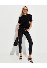 ONETEASPOON - Czarne spodnie Freebird II Stretch. Kolor: czarny. Wzór: aplikacja