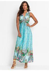 Długa letnia sukienka bonprix turkusowy paisley. Kolor: niebieski. Wzór: paisley. Sezon: lato. Długość: maxi