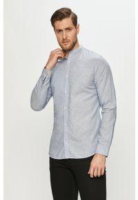 Niebieska koszula PRODUKT by Jack & Jones z długim rękawem, casualowa, długa, ze stójką