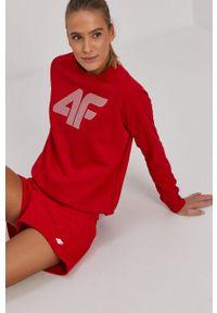 4f - 4F - Bluza. Okazja: na co dzień. Kolor: czerwony. Wzór: nadruk. Styl: casual