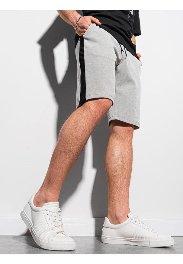 Ombre Clothing - Krótkie spodenki męskie dresowe W297 - szare - XXL. Kolor: szary. Materiał: dresówka. Długość: krótkie