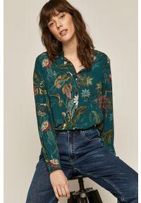 Turkusowa koszula medicine na co dzień, w kwiaty