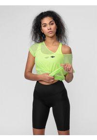 4f - Koszulka treningowa damska. Kolor: żółty. Materiał: włókno, dzianina. Sport: bieganie