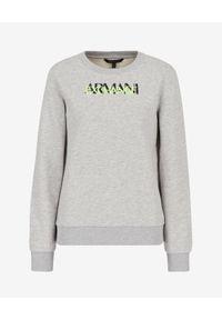 Armani Exchange - ARMANI EXCHANGE - Szara logowana bluza. Okazja: na co dzień. Kolor: szary. Materiał: jeans. Długość rękawa: długi rękaw. Długość: długie. Wzór: nadruk. Sezon: lato, jesień. Styl: casual