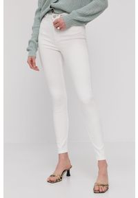 Białe jeansy Vila z podwyższonym stanem