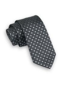 Szary krawat Angelo di Monti wizytowy, w geometryczne wzory