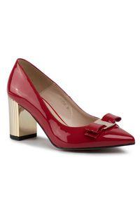 Czerwone półbuty sagan eleganckie, z cholewką
