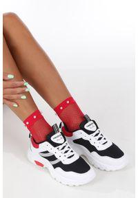 Casu - Białe buty sportowe sneakersy sznurowane casu 702. Okazja: do pracy, na uczelnię, na co dzień. Kolor: biały. Materiał: skóra ekologiczna, materiał. Szerokość cholewki: normalna. Wzór: kolorowy