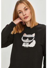 Czarna bluza Karl Lagerfeld klasyczna, z aplikacjami