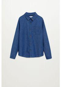 Niebieska koszula Mango Kids na co dzień, długa, casualowa