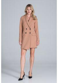 Figl - Żakietowa Sukienka z Dwurzędowym Zapięciem - Brązowa. Kolor: brązowy. Materiał: poliester, wiskoza, elastan