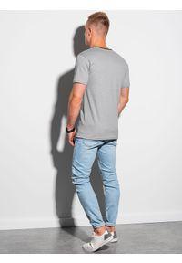 Ombre Clothing - T-shirt męski bawełniany S1385 - szary - XXL. Kolor: szary. Materiał: bawełna. Styl: klasyczny